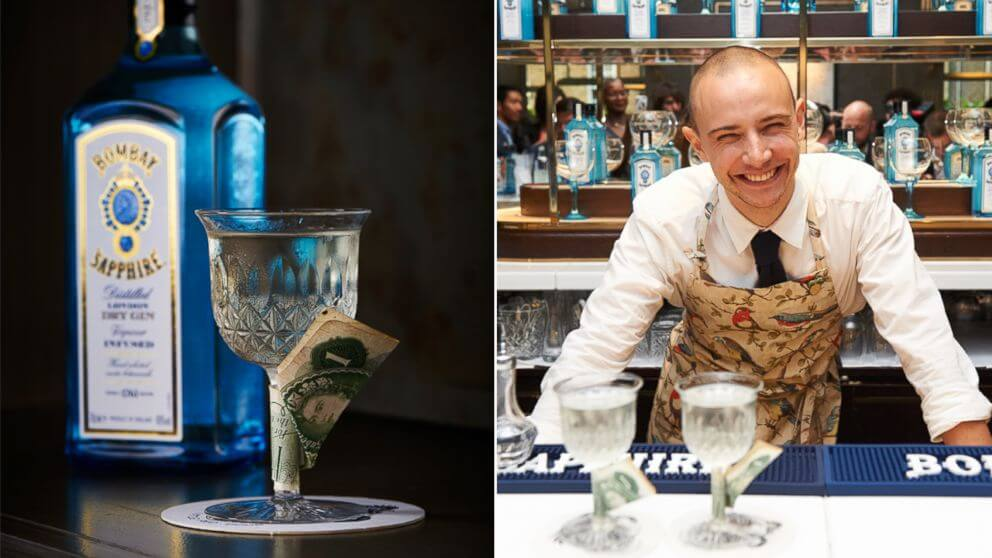 The award-winning cocktail that exactly tasted like money was made in 2014 Bombay Sapphire by Remy Savage of Little Red Door in Paris.