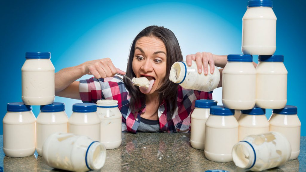 Michelle Lesco from United States holds the Guinness world record of most mayonnaise eaten in three minutes